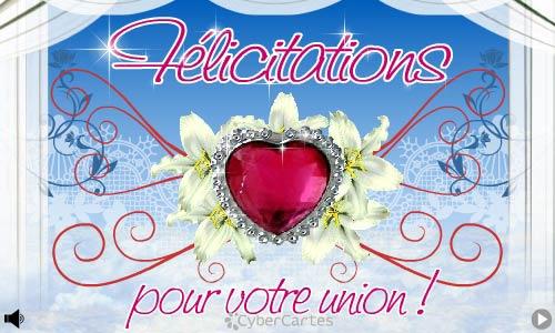 Félicitaion pour votre union